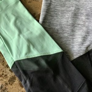 Pink Mint and black with grey leggings